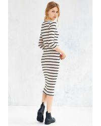 BDG - White Striped Knit Midi Dress - Lyst