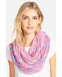 Lauren by Ralph Lauren | Pink 'lily' Plaid Infinity Scarf | Lyst