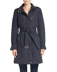 Cole Haan | Blue Belted Quilted Coat | Lyst