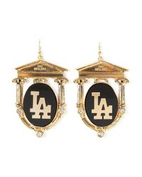 Malibu 1992 - Metallic 'La' Print Earrings - Lyst