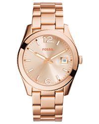 Fossil - Metallic Women's Perfect Boyfriend Rose Gold-tone Stainless Steel Bracelet Watch 39mm Es3587 - Lyst