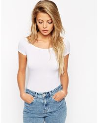ASOS | White The Off Shoulder Body With Short Sleeves | Lyst