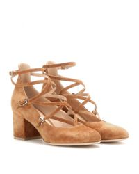 Gianvito Rossi - Natural Criss-Cross Suede Pumps - Lyst