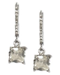 Betsey Johnson | Metallic Silver-tone Square Crystal Drop Earrings | Lyst