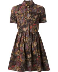 Valentino - Green Butterfly Print Shirt Dress - Lyst