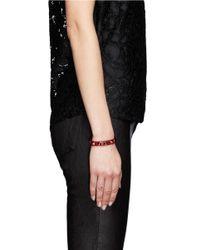 Valentino - Red Rockstud Leather Skinny Bracelet - Lyst