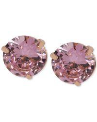 Steve Madden - Pink Rose Goldtone Cubic Zirconia Stud Earrings - Lyst