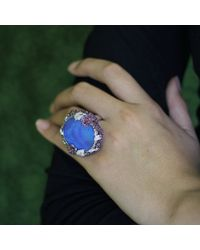 Wendy Yue - Blue Boulder Opal And Sapphire Ring - Lyst