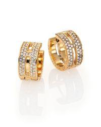 Michael Kors | Metallic Heritage Maritime Pavé Goldtone Huggie Hoop Earrings/0.5 | Lyst