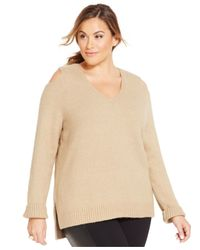 Michael Kors | Natural Michael Plus Size Cold-shoulder Sweater | Lyst