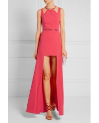 Halston - Black - Embellished Stretch Crepe De Chine Gown - Coral - Lyst