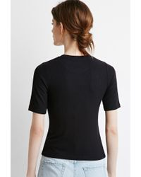 Forever 21 | Black Ribbed Knit Tee | Lyst