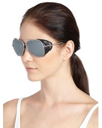 Roberto Cavalli - Metallic Leather Detail 60mm Aviator Sunglasses - Lyst
