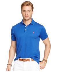 Polo Ralph Lauren - Blue Custom-fit Stretch-mesh Polo for Men - Lyst