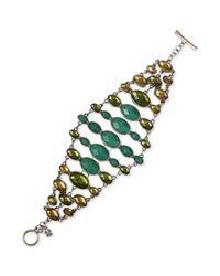Lucky Brand - Metallic Silvertone Multigreen Stone Flex Bracelet - Lyst