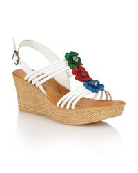 Lotus | White Selina Wedge Sandals | Lyst