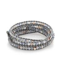 Chan Luu | Metallic Grey Agate, Crystal & Leather Multi-row Beaded Wrap Bracelet | Lyst