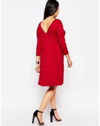 ASOS - Black Curve V-front V-back Swing Dress With Three Quarter Length Sleeves - Lyst