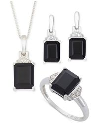No Vendor | Metallic Black Onyx (8 Ct. T.w.) And Diamond Accent Jewelry Set In Sterling Silver | Lyst
