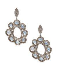 Bavna | Blue Diamond, Moonstone & Sterling Silver Flower Earrings | Lyst