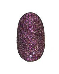 Adornia - Purple Rhodolite Garnet And Sterling Silver Farrah Ring - Lyst