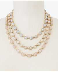 Ann Taylor | Metallic Oval Stone Statement Necklace | Lyst