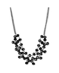 Kenneth Cole | New York Hematitetone Black Faceted Shaky Bead Frontal Necklace | Lyst