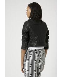 TOPSHOP - Black Petite Faux Leather Collarless Biker Jacket - Lyst