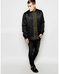 ASOS - Black Bomber Jacket With Floral Embroidery for Men - Lyst