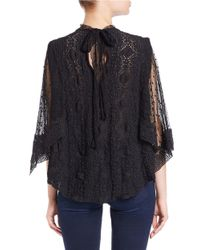 Free People | Black Mesh-accented Top | Lyst