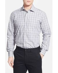David Donahue - Blue Regular Fit Plaid Sport Shirt for Men - Lyst