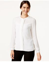 Laundry by Shelli Segal | White Woven Pleat-front Shirt | Lyst