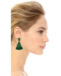 Oscar de la Renta | Green Baguette Pave Clip On Earrings Emerald | Lyst