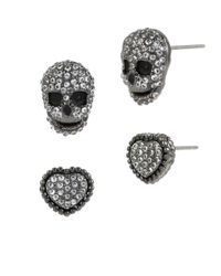 Betsey Johnson | Black Cubic Zirconia Pavé Heart & Skull Stud Earring Set | Lyst