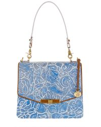 Brahmin - Blue Ophelia Floral Leather Shoulder Bag - Lyst