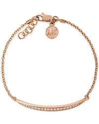 Michael Kors | Metallic Rose Goldtone Glass Crystal and Chain Matchstick Bracelet | Lyst