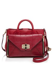 Diane von Furstenberg | Red 440 Gallery Secret Agent Croc-embossed Tote | Lyst
