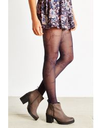 Urban Outfitters - Blue Large Flower Sheer Tight - Lyst