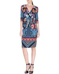Etro - Blue Geometric Patchwork Surplice Jersey Dress - Lyst