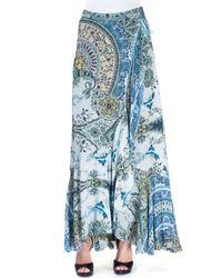 Etro - Blue Ruffled Paisley-print Maxi Skirt - Lyst