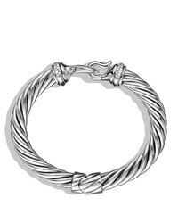 David Yurman   Metallic Buckle Cable Bracelet With Diamonds   Lyst