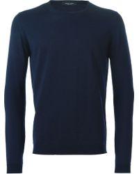 Roberto Collina - Blue Crew Neck Sweater for Men - Lyst