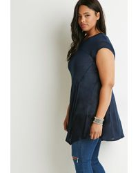 Forever 21 | Blue Plus Size Contrast-stitched Trapeze Tunic | Lyst