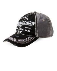 True Religion - Black Distressed Embroidered Baseball Cap for Men - Lyst