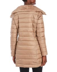 Save The Duck - Natural Packable Faux Fur Trim Coat - Lyst