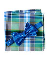 Tommy Hilfiger | Blue Dot Plaid Silk Bow Tie & Pocket Square Set for Men | Lyst
