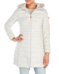 Save The Duck - White Hooded Packable Down Coat - Lyst