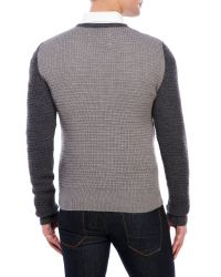 Maison Margiela - Gray Color Block Waffle Sweater for Men - Lyst