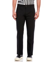 Bikkembergs - Black Flat Front Slim Fit Pants for Men - Lyst
