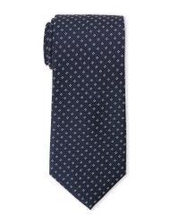 Saint Laurent - Blue Navy Contrast Pattern Silk Tie for Men - Lyst